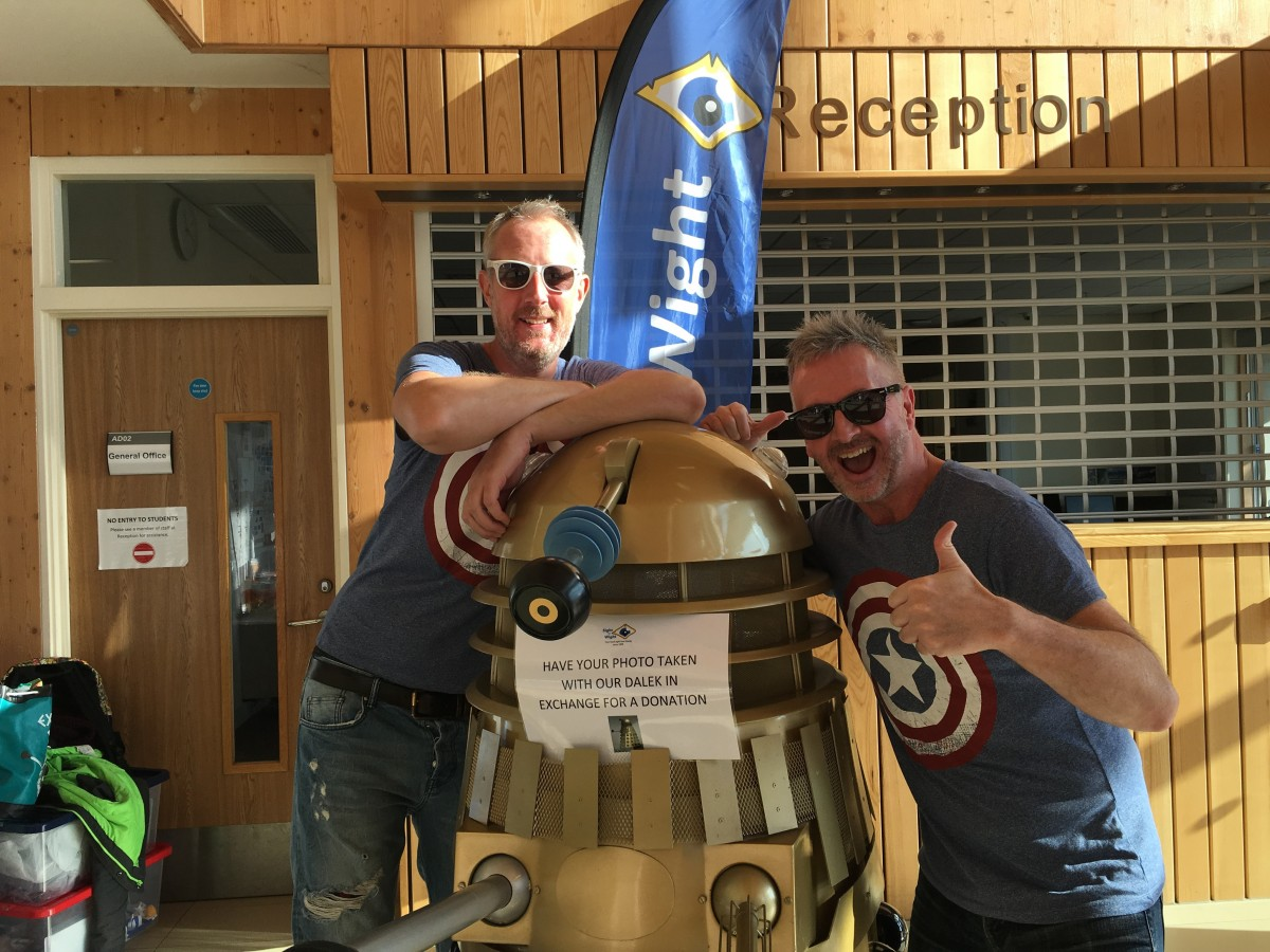Kris Stevens and Chris Cane pose with the Dalek