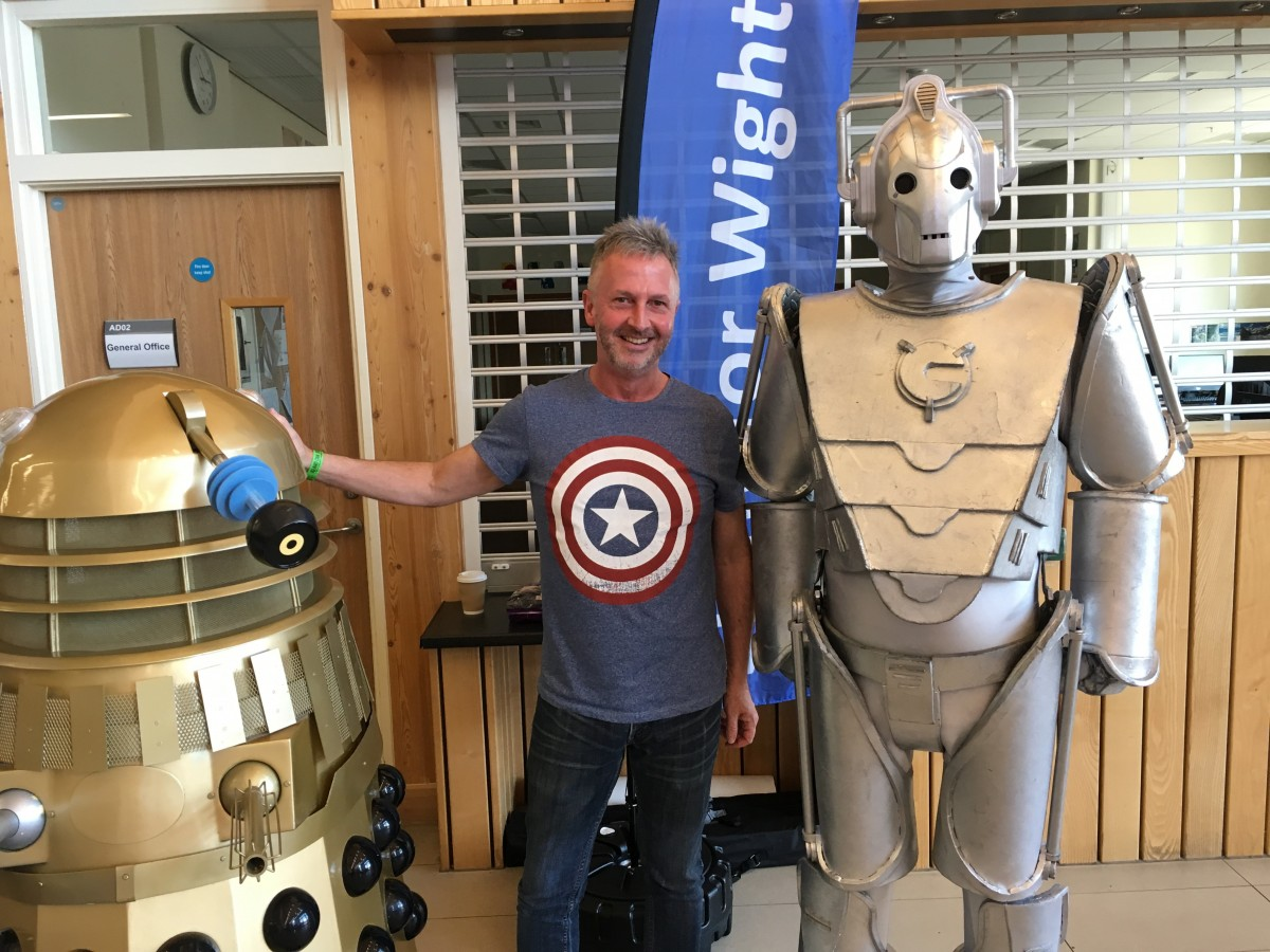 Chris with Dalek & Cyberman