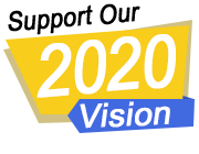 A picture of a blue and yellow logo with the words support our 2020 vision