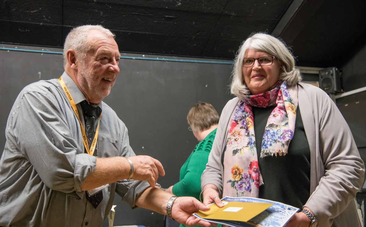 Paul Rutherford presents Sue Grant with her prize
