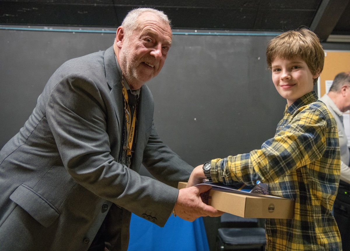 Paul Rutherford presents prize to Freddie Hayler