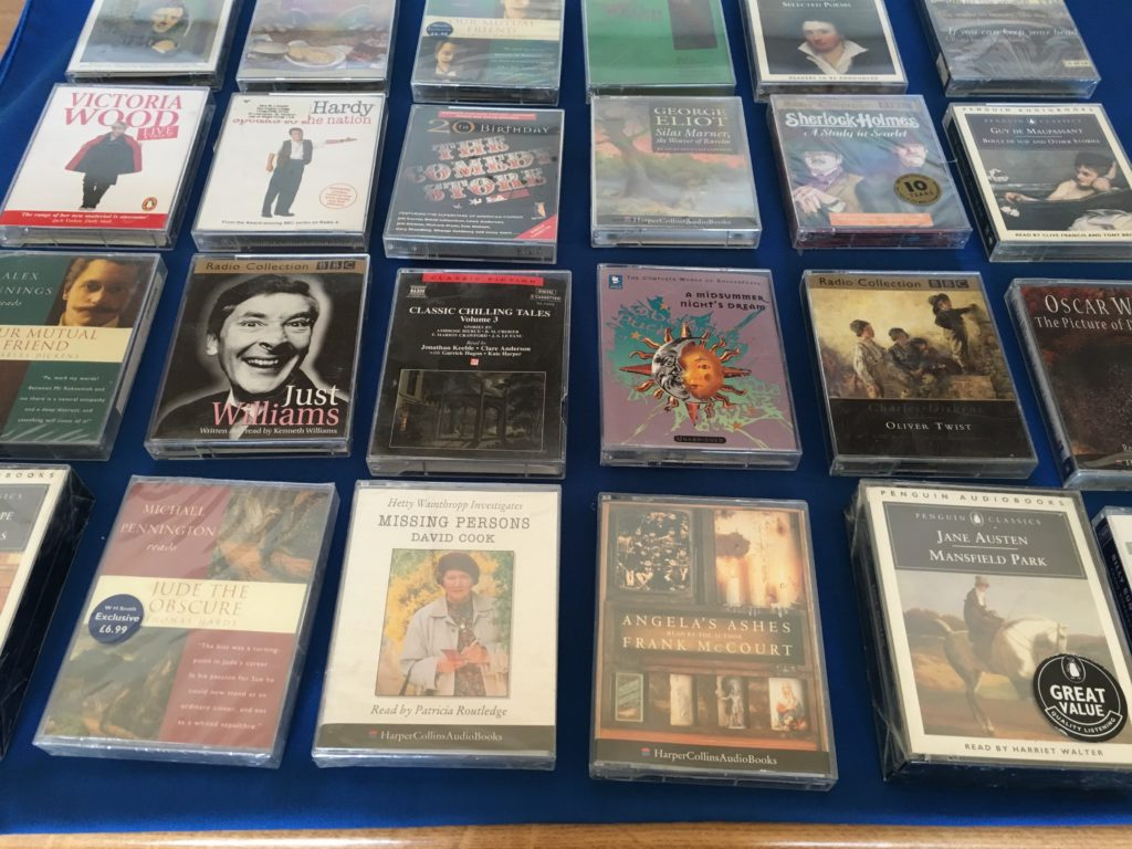 A selection of audio book cassette tapes for sale