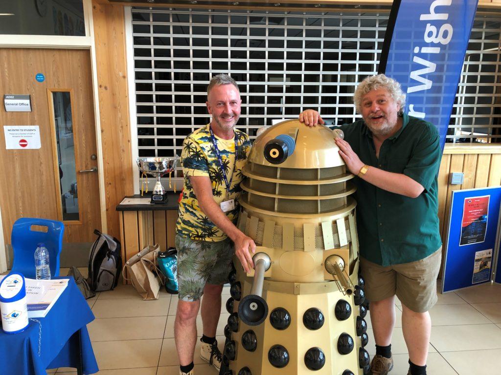 Chris, Dalek and Dalek writer Rob Shearman