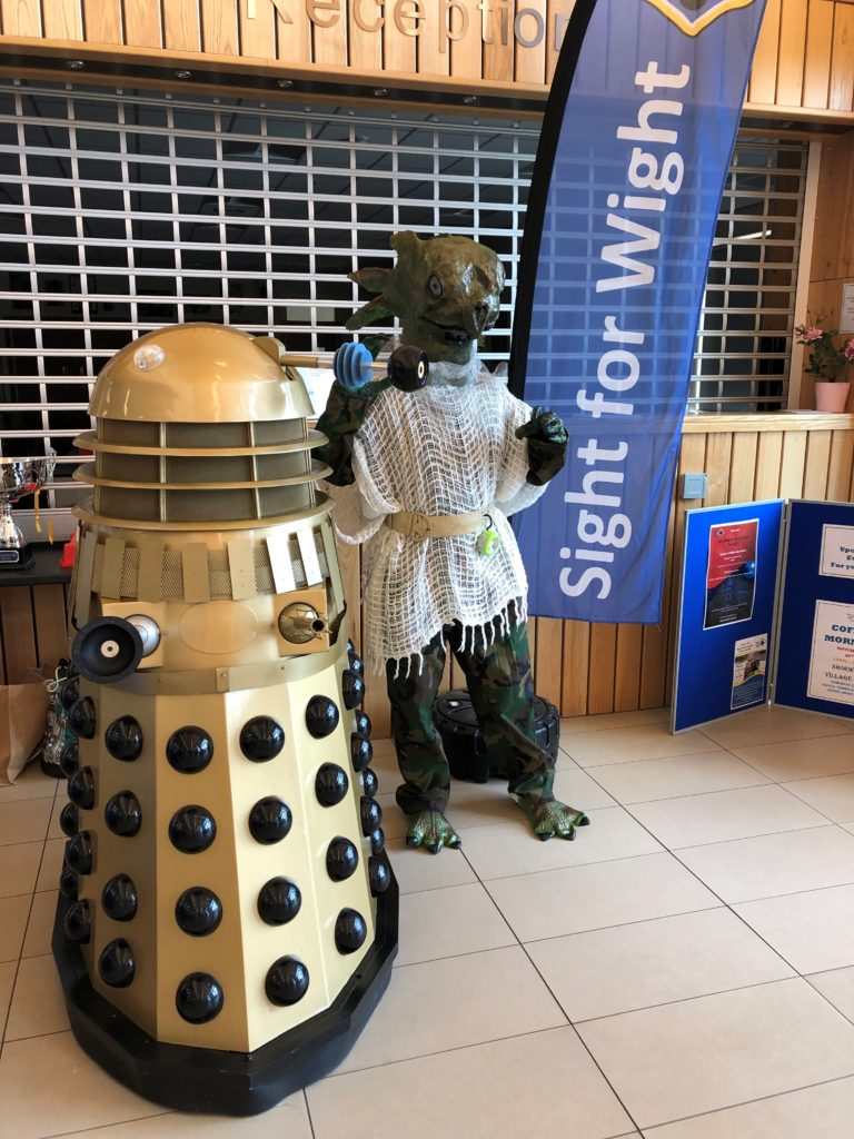 Dalek and Sea Devil pose
