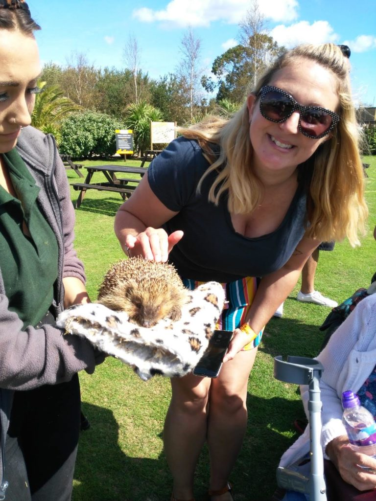 Laura, our member services manager, with 'Norman' a blind hedgehog.