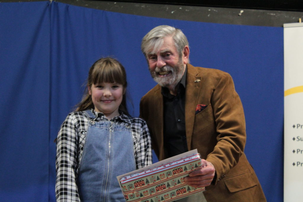 Runner up Laura Lefley with Melvyn Hayes