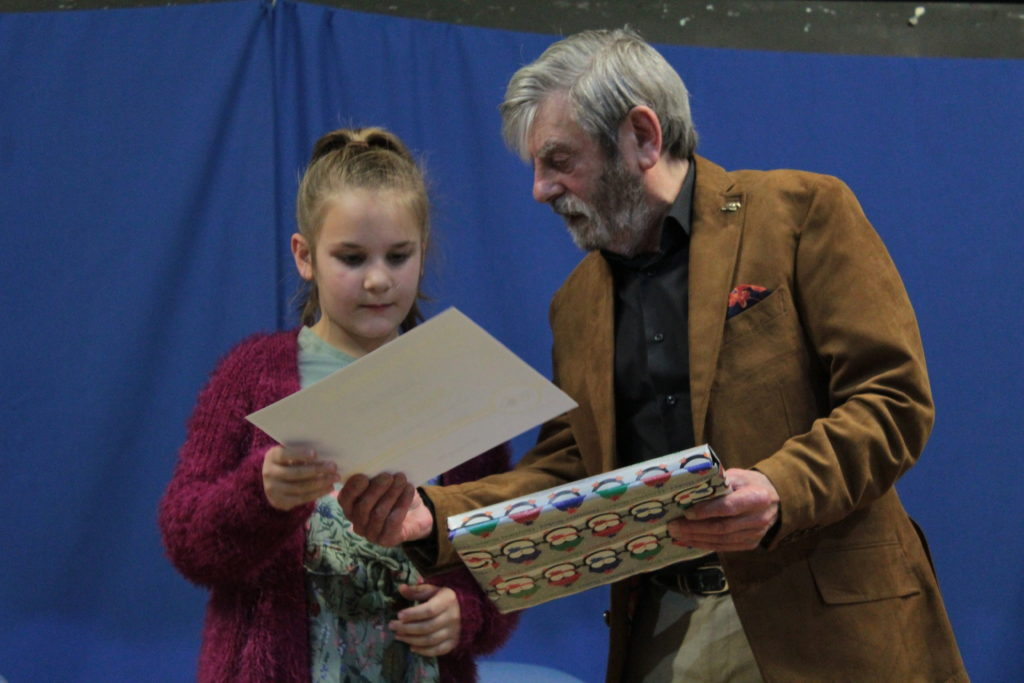 Runner up Megan Bower with Melvyn Hayes