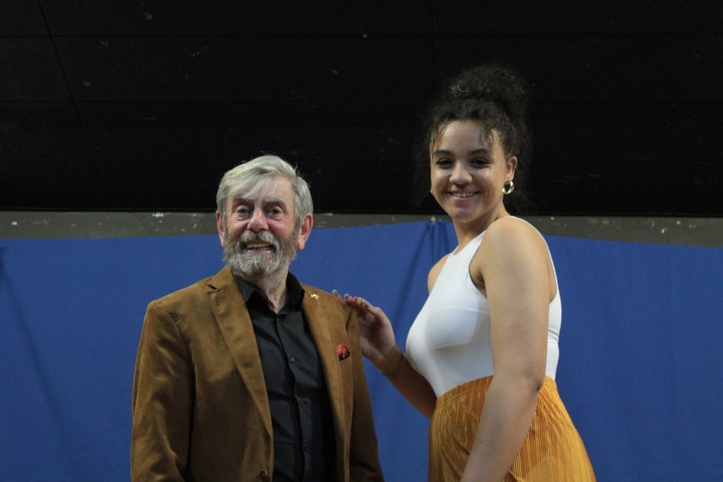 Runner up Sophie Wood with Melvyn Hayes