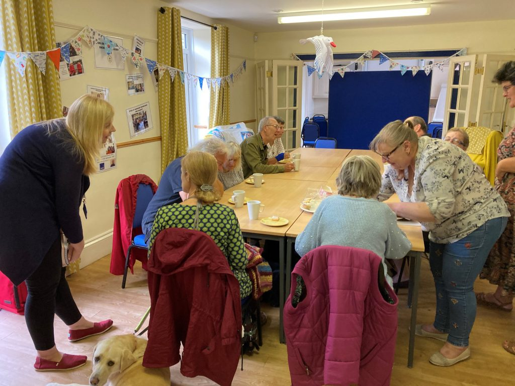 Laura Gooljar (ECLO) chats to members during this week's Coffee Morning