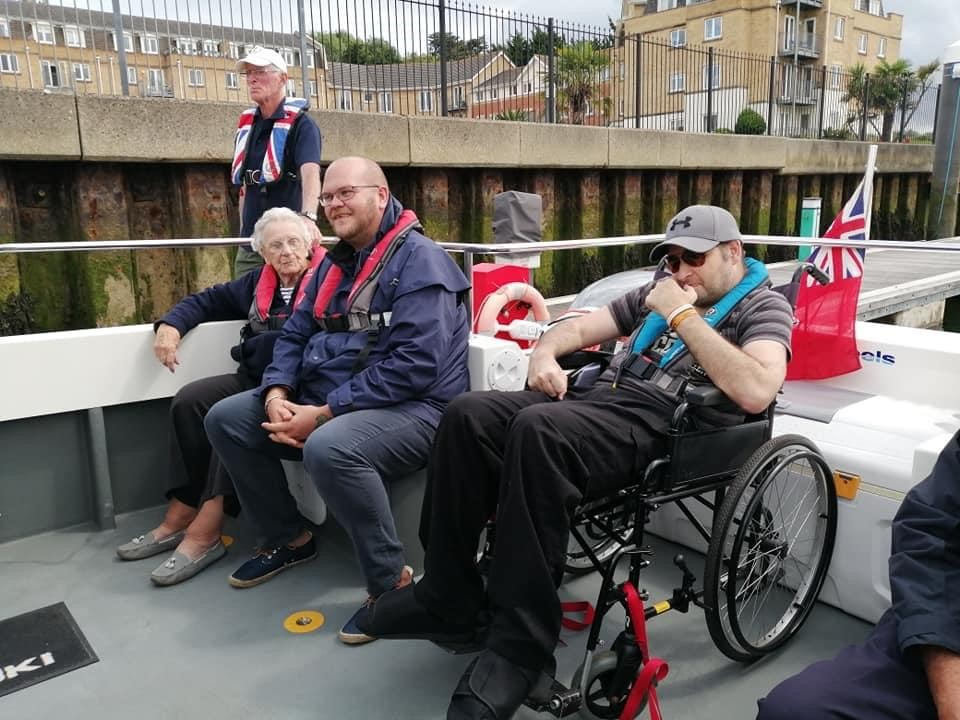 Members and carer on board